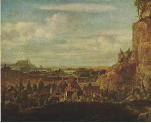 Rivierdal met huizen door Hercules Seghers. Professor H.Schulte Nordholte ontdekte dat de huizen zijn gebaseerd op de stadshuisjes in de Jordaan nabij de Noorderkerk. Hercules Seghers oonde na 1619 aan de Lindengracht, en vanuit zijn raam kon hij de afgebeelde woningen zien (Museum Boymans-van Beuningen, Totterdam)