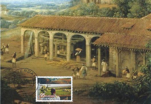 Frans Post: suikerfabriek (met postzegel)