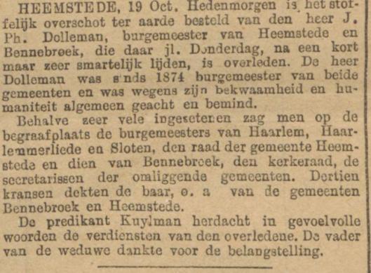 Overlijdensbericht burgemeester J.Ph. Dolleman, uit: Algemeen Handelsblad van 20-10-1891
