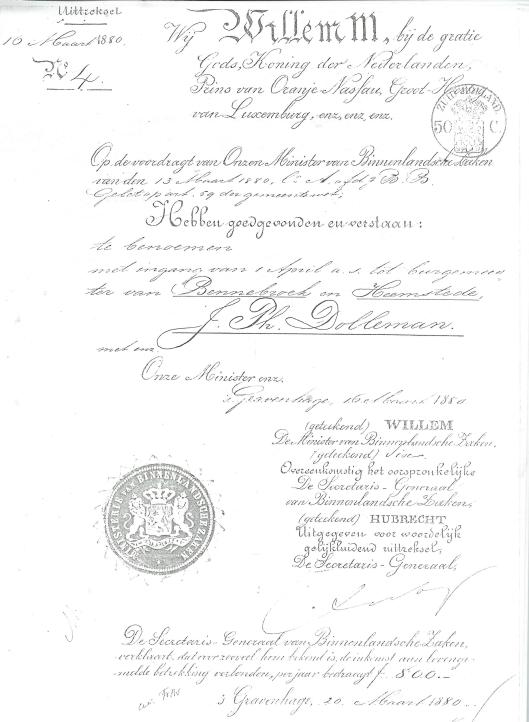 Aanstellingsakte van burgemeester J.Ph. Dólleman