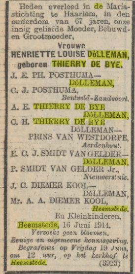 Overlijdensadvertentie mw.H.L.Dólleman-Thierry de Bye (uit Algemeen Handelsblad van 17 juni 1914)