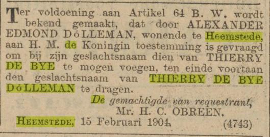 Verlening naamswijziging. Bericht uit Algemeen Handelsblad van 15-2-1904