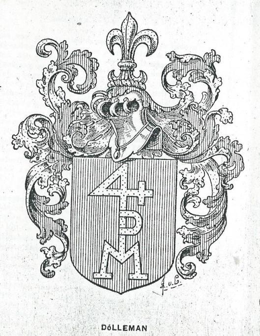 Geslachtswapen Dolleman waarin het merkzegel van Willem Dolleman (1724-1800) is verwerkt