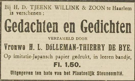 Advertentie 'Gedachten en Gedichten', uit Haarlem's Dagblad van 27 november 1914