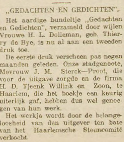 Bericht aankondiging nieuwe druk van Gedachten en Gedichten, uit Haarlem's Dagblad van 3 juli 1915