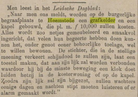 Bouw van een grafkelder voor schijndoden. Uit Javabode van 19-7-1883, tevens gepubliceerd in talrijke andere bladen.