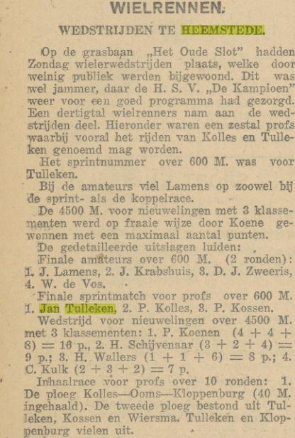 De grasbaan van 't Oude Slot als wielerbaan (De Maasbode, 28 april 1925)