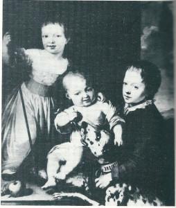 Twee van de 3 kinderen van John Hope, Henry Philippe en de 1-jarige Adriaan Elias met rechts een neef, Schilderij in bezit van d hertog van Marlborough