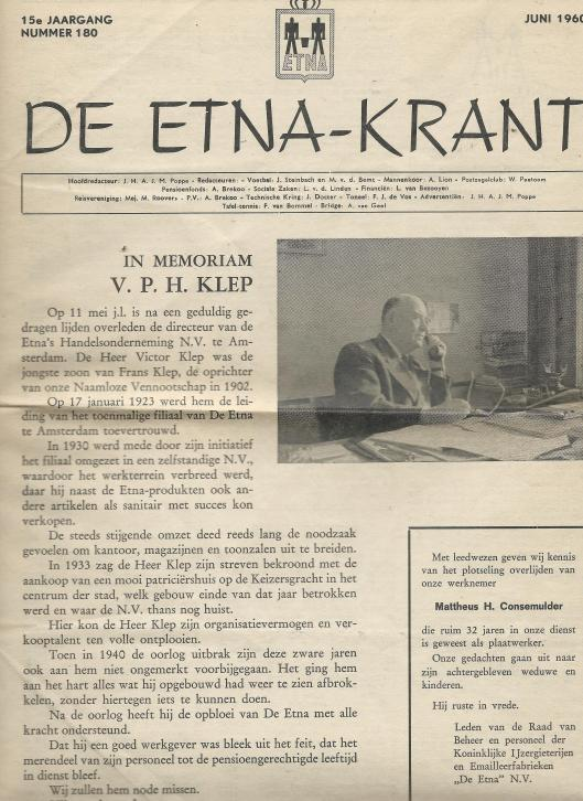 Vooromslag van de Etna-krant van juni 1960 naar aanleiding van het overlijden van (vader) V.H.P.Klep