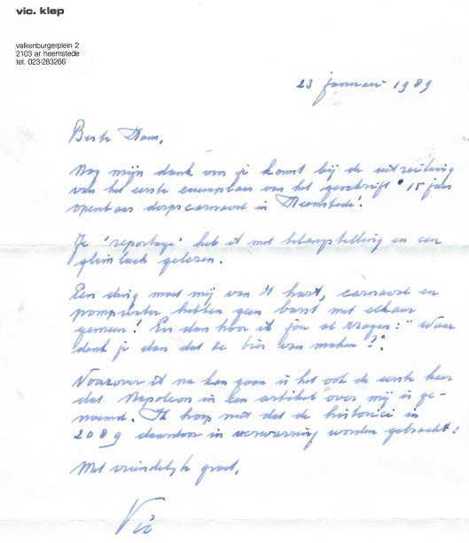 Brief van Vic Klep van 23 januari 1983 naar aanleiding van 15 jaar dorscarnaval in Heemstede