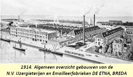 Panorama van de Etna-fabrieken In de 20ste eeuw 1 van de 3 grote industrieën in Breda naast Kwatta-chololade en Hero-conserven [en verder Oranjeboom brouwerijen en Moelschot weekwerktuigenfabriek). . In dce jaren 20 van de vorige eeuw was het personeelsbestand uitgegroeid tot meer dan 5--. In 1983 verhuisde de productie naar Ulft en in 2000 is Etna samen met ATAG en Pelgrim gegaan, sindsdien gevestigd in Duiven. De merknaam Etna bestaat nog altijd
