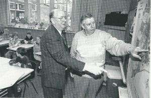 Vic Klep en Nol Leuven (rechts) op de Voorwegschool