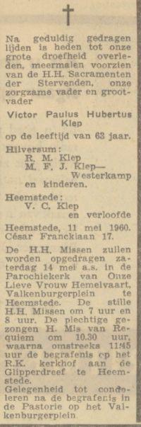 Overlijdensadvertentie V.Klep, 1960