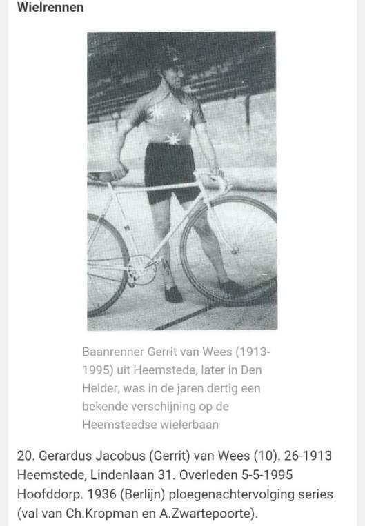 Gerrit van Wees op de Heemsteedse wielerbaan, veelvoudig winnaar van 'de trofee:  'Heemstede-Brassard