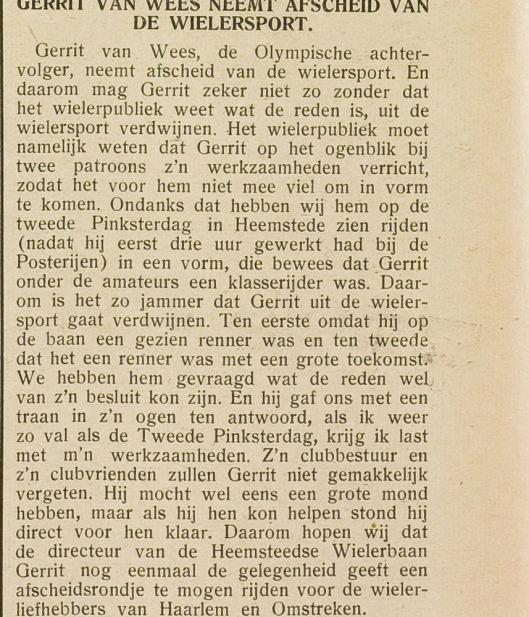 Afscheid van Gerrit van Wees als baanwielrenner (E.H.C. 15-6-1937)