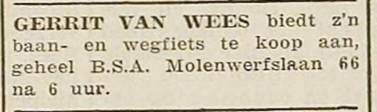 De coureur bood zijn wegfiets te koop aan (H.D, 1 juli 1937)