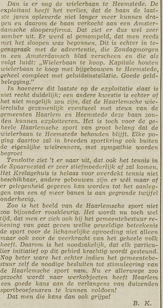 Over het einde van de Heemsteedse wielerbaan (Haarlems's Dagblad, 16 september 1940)