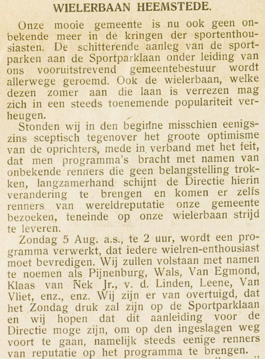(Eerste Heemsteedse Cpurant, 3 augustus 1934)