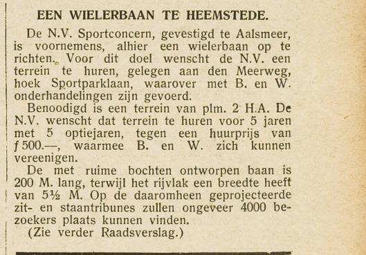 Oprichting van wielerbaan Heemstede (Eerste Heemsteedse Courant 22-12-1933)