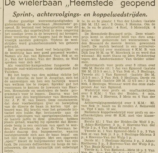 De wielerbaan Heemstede geopend (Haarlem's Dagblad 14 mei 1934)