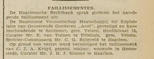 Bericht van opheffing faillissement Kruyt na verzet (Haarlem's Dagblad, 29 januari 1941)