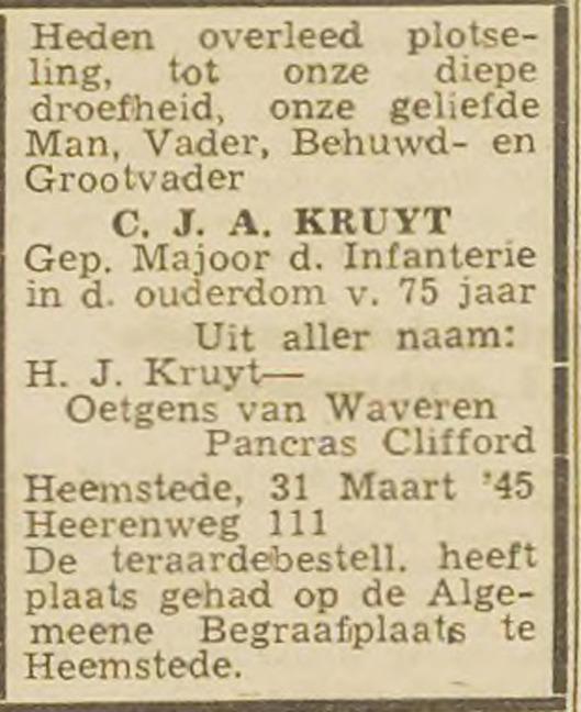 Overlijdensadvertentie Kruyt in de Opr. Haarlemsche Courant van 4 april 1945