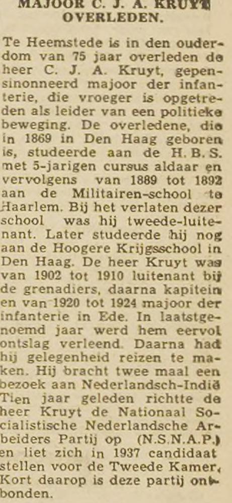 Redactioneel bericht overlijden A.J.C.Kruyt, Opr. Haarl. Courant, 4 april 1945