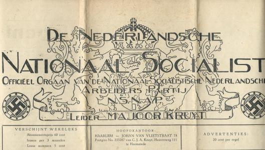 Kop van het partijorgaan De Nederlandsche Nationaal-Socialist, 8 juni 1940