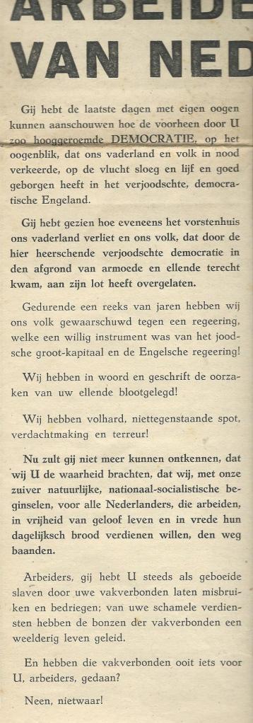 Oproep van de N.S.N.A.P. aan de arbeiders van Nederland