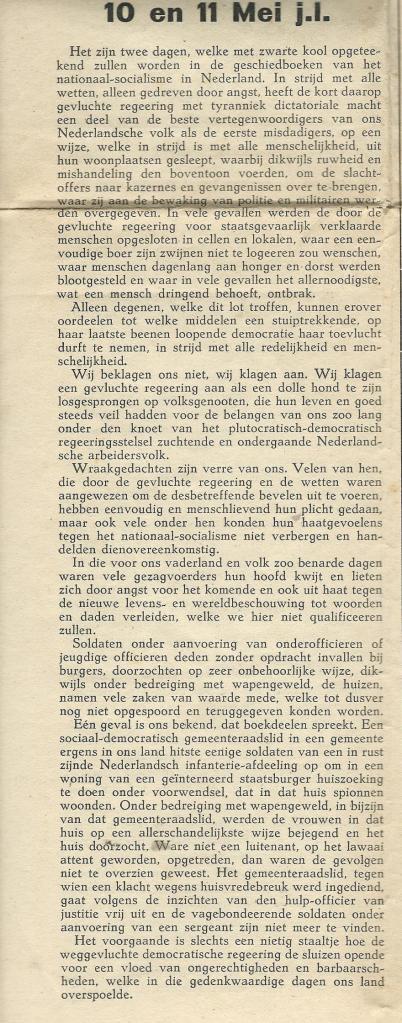 Bericht in partijkrant van 8 juni 1940, nr.271, naar aanleiding van tijdelijke internering 10-11 mei 1940