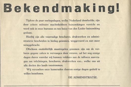 Bericht over huiszoeking bij Kruyt 10 mei 1940 waarbij N.S.N.A.P.propaganda in beslag werd genomen en vernietigd