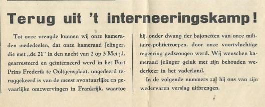 'Terug uit 't interneeringskamp', De Ned. Nat. Socialist, zaterdag 8 juni 1940
