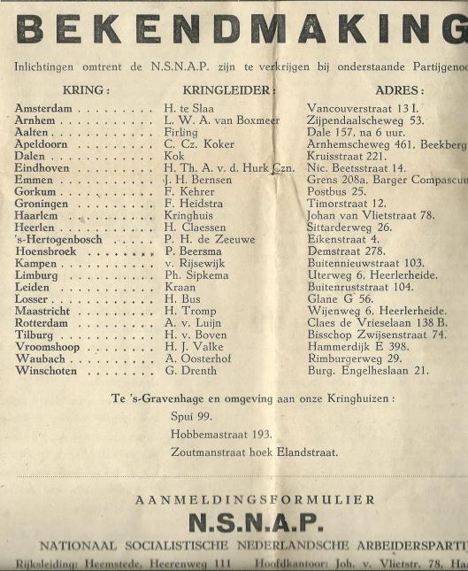 Bekendmaking kringhuizen en kringleiders N.S.N.A.P.-Kruyt