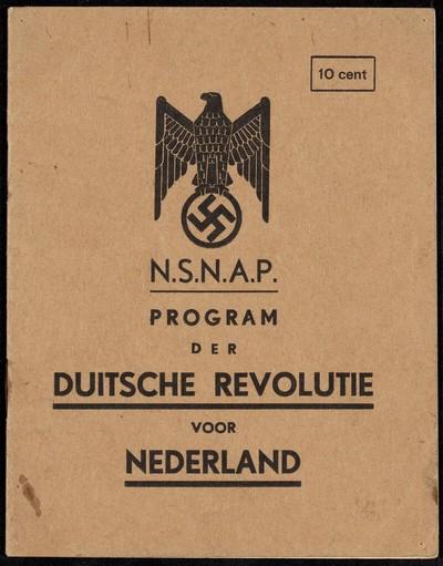 Vooromslag van N.S.N.A.P.program der Duitsche revolutie voor Nederland