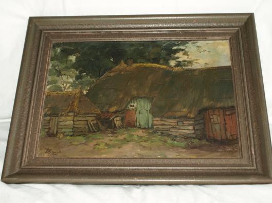 Schilderij met voorstelling van een boerderij door Aart Kruyt