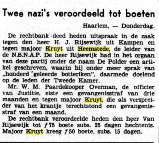 Kruyt veroordeeld wegens belediging (Het Volk, 8-2-1940)