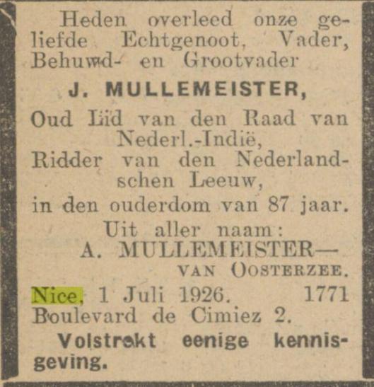 Overlijdensadvertentie J.Müllemister uit het Algemeen Handelsblad van 12 april 1929
