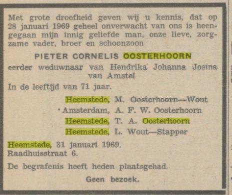 Overlijdensbericht Pieter Cornelis Oosterhoorn, Algemeen Handelsblad 1 februari 1969