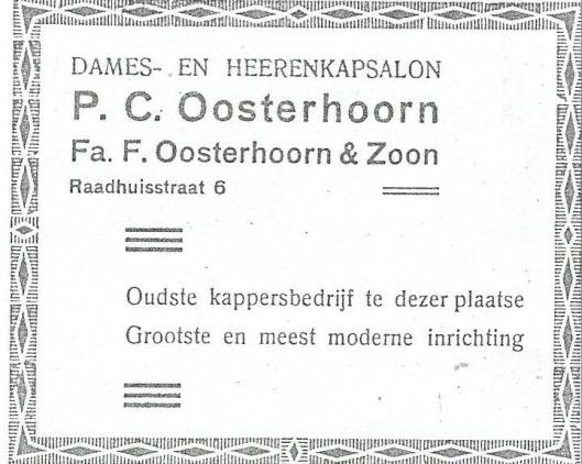 Adv. firma Oosterhoorn uit 1939