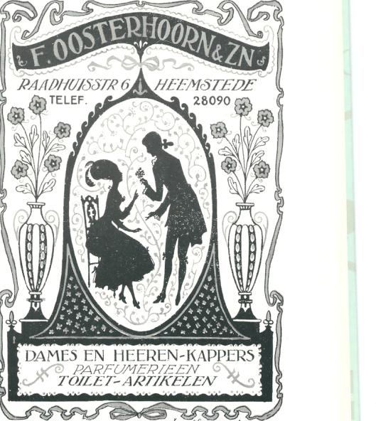 Artistieke advertenrie van Dames- en herenkappers F.Oosterhoorn & Zn., vervaardigd door plaatsgenoot en vaste klant Jan Wiegman