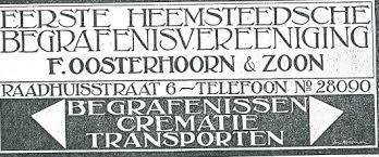 Annonce van de Eerste Heemsteedsche Begrafenisonderneming F.Oosterhoorn & Zn.
