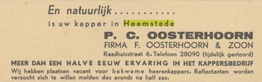 Advertentie firma Oosterhoorn in Heemstede uit De Patriot, 14 mei 1945