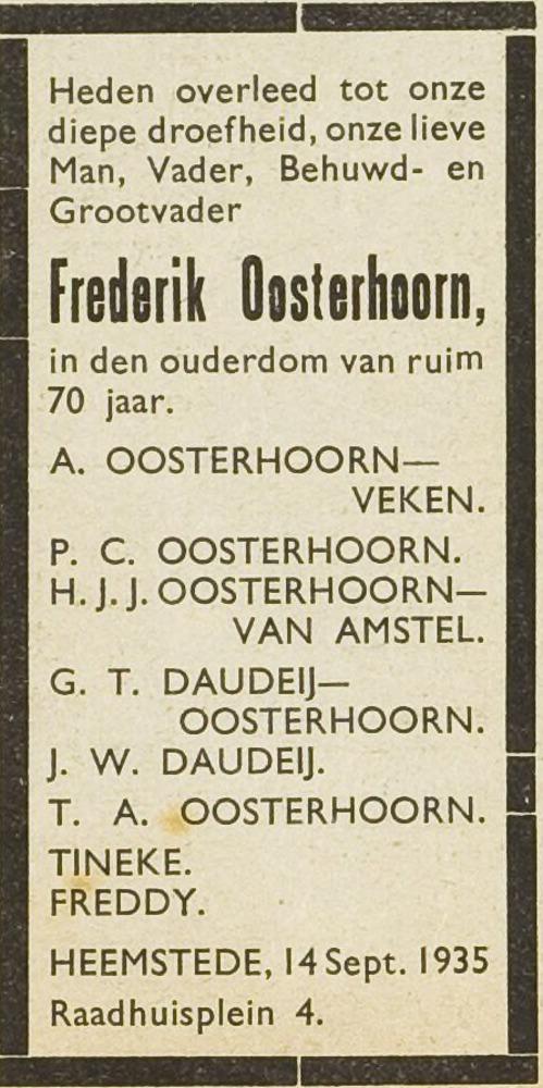 Overlijdensadvertentie Frederik Oosterhoorn, uit: Eerste Heemsteedsche Courant van 20 september 1935