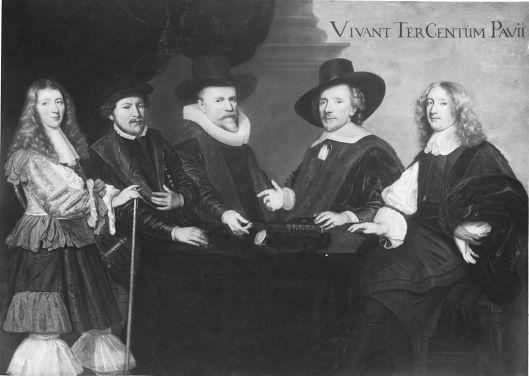 Enkele generaties Pauw op een doek geschilderd. V.l.n.r.; Johan Pauw (1645-1708), Adriaan Pauw (1516-1587), Reinier Pauw (1574-1636), Reinier Pauw (1591-1676) en Dirk Pauw (1618-1688). Verblijfplaats van het schilderij is onbekend, mogelijk verloren of in particuliere collectie