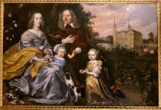 Michiel Pauw (1617-1658) en echtgenote Anna maria Fassin + 2 oudste kinderen: Adriana Pauw (1652-1713) en Johan Pauw (1653-1685) met op de achtergrond het kasteel van Heemstede; door Jan Mijtens