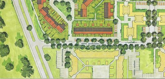 Plattegrond deel van de Vrouwenwijk in Merlenhoven, Heemstede