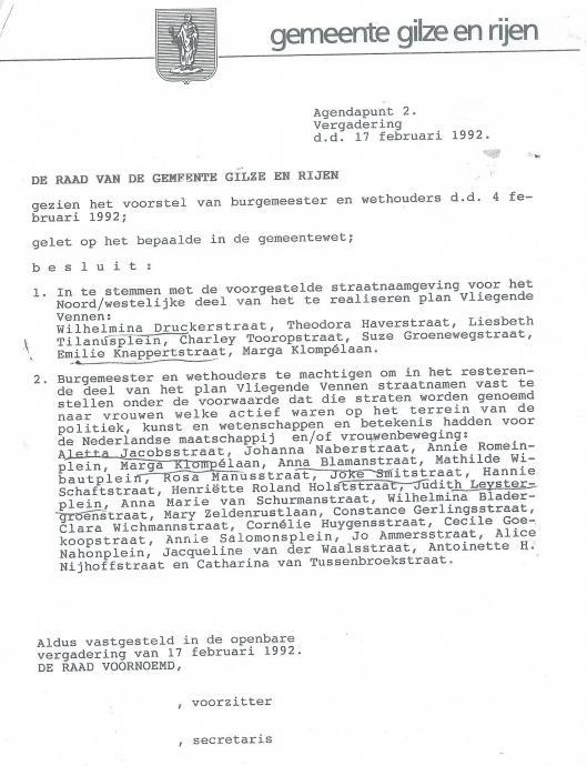 Voorstel van College B. en W. gemeente Glize en Rijen aan de Raad voor een vrouwenwijk