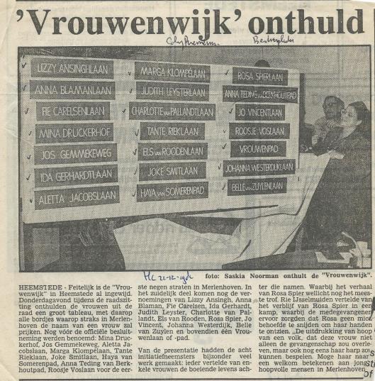 'Vrouwenwijk onthuld' in Heemstede (Heemsteedse Courant, 21 december 1982)