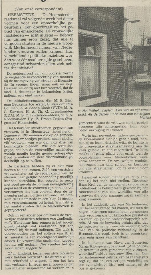 Alleen vrouwennamen op bordjes in Merlenhoven (uit: Haarlems Dagblad van 13 cember 1982)