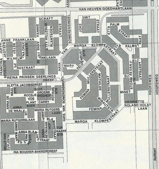 Plattegrond van Vrouwenwijk in Hoofddorp, gemeente Haarlemmermeer